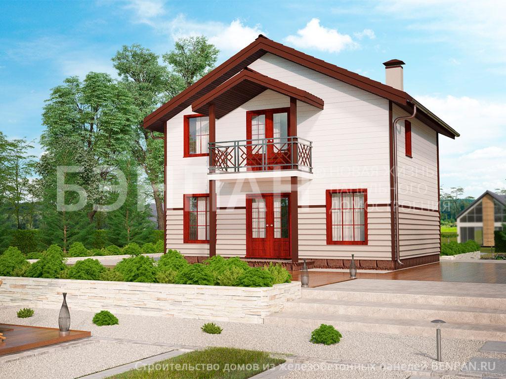 Фото дом с мансардой 99.80м2, этажа 2, комнаты 3, проект для загородного дома
