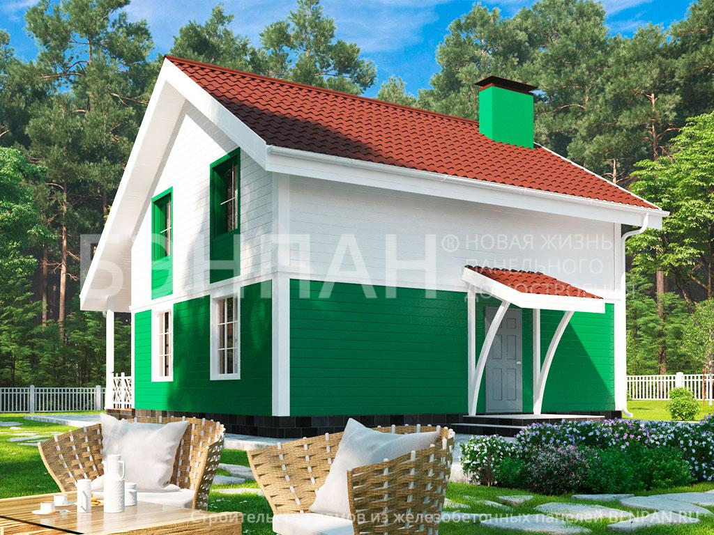 Фото дом с мансардой 108.10м2, этажа 2, комнаты 5, проект для загородного дома