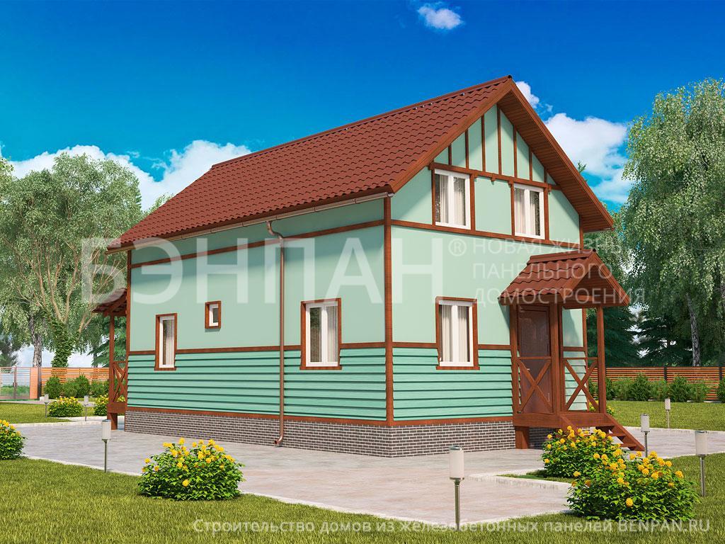 Фото дом с мансардой 108.98м2, этажа 2, комнаты 5, проект для загородного дома