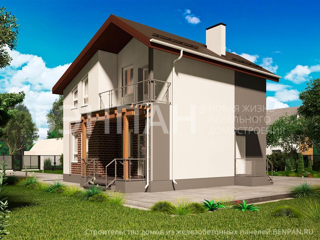Фото дом с мансардой 104.00м2, этажа 2, комнаты 4, проект для загородного дома