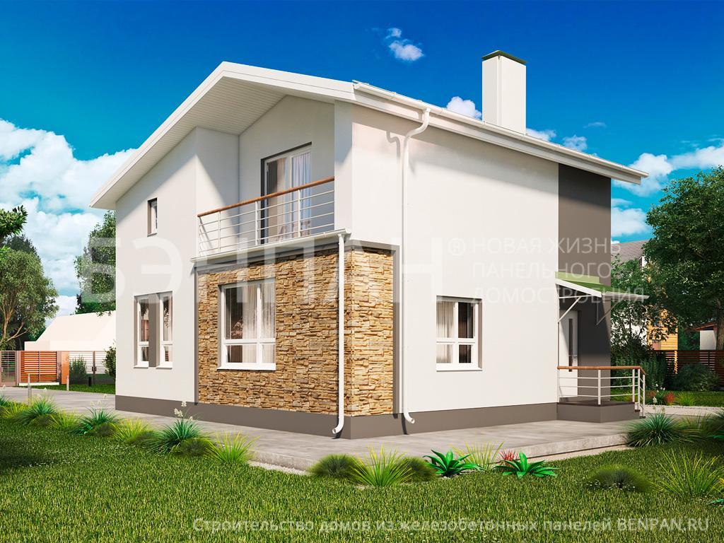 Фото дом с мансардой 118.50м2, этажа 2, комнаты 4, проект для загородного дома