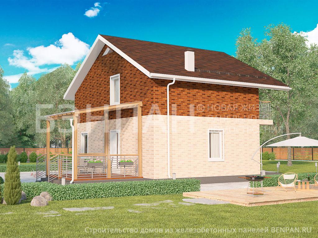 Фото дом с эркером 138.50м2, этажа 2, комнаты 4, проект для загородного дома