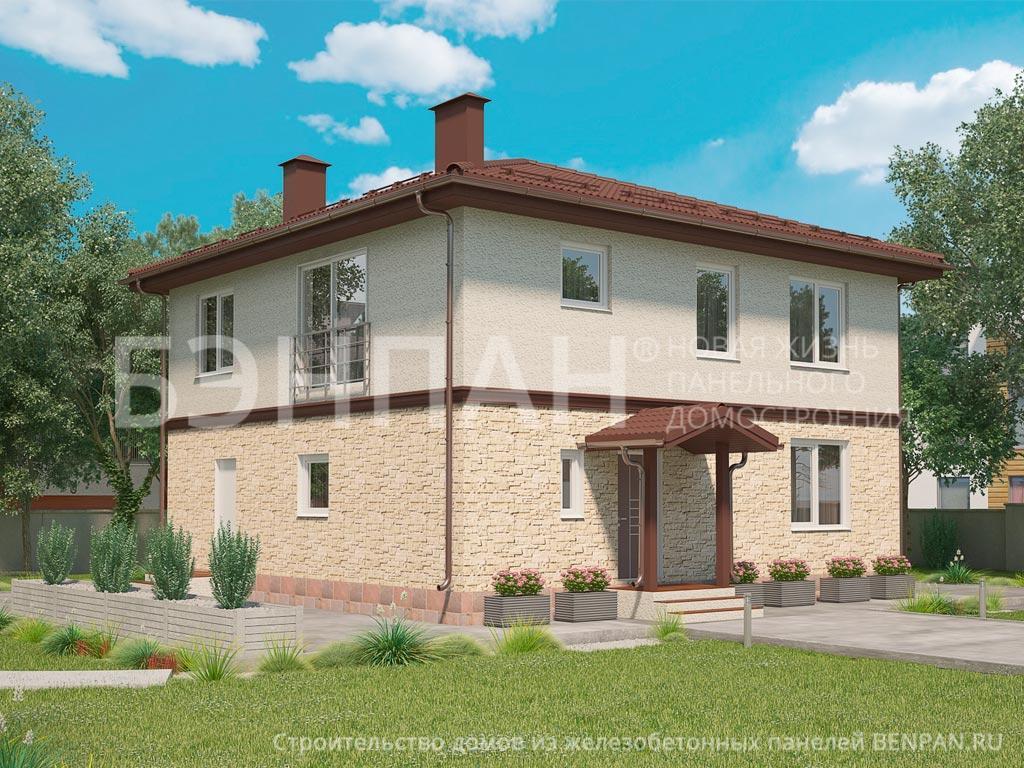 Фото дом с французским окном 188.00м2, этажа 2, комнаты 6, проект для загородного дома