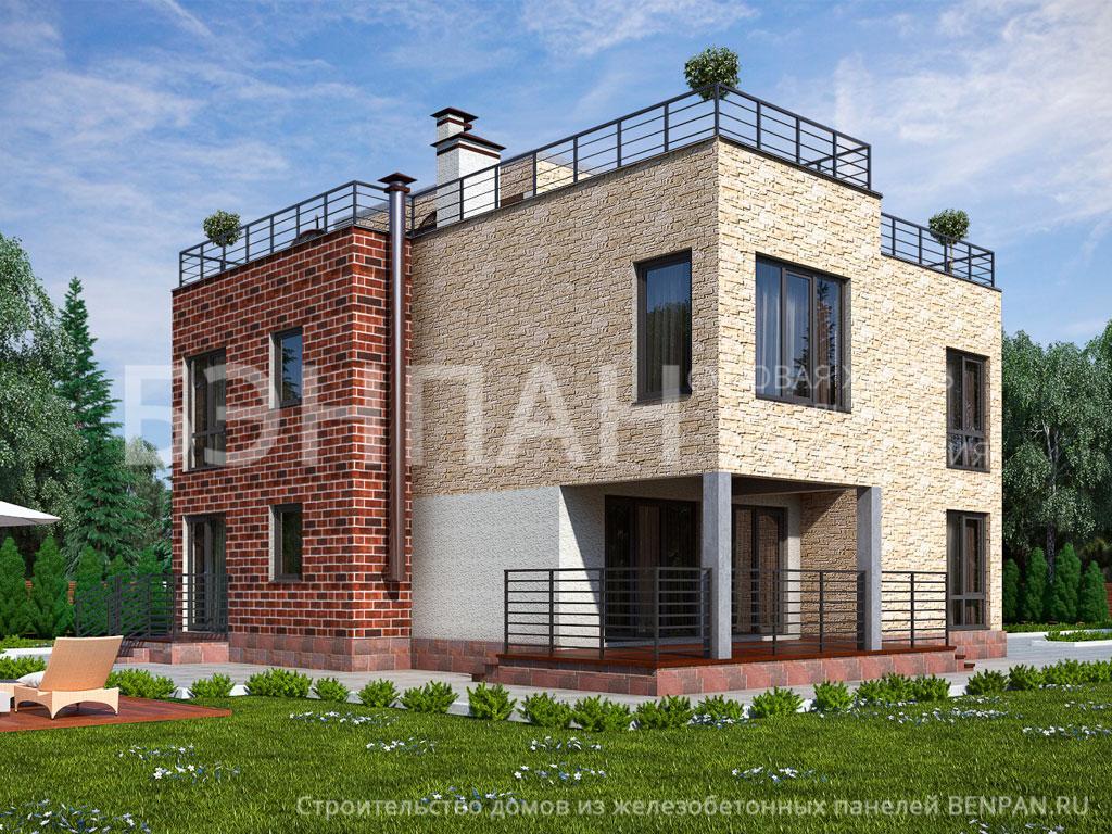Фото дом с эксплуатируемой крышей 248.30м2, этажа 3, комнаты 6, проект для загородного дома