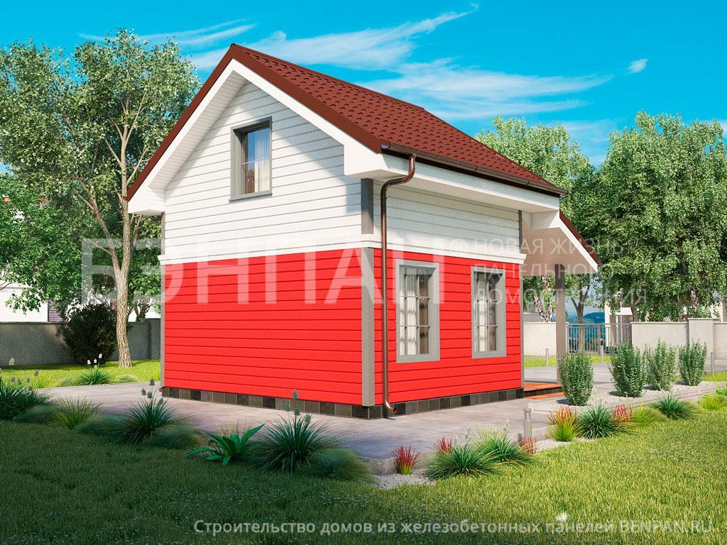Фото дом с мансардой 45.40м2, этажа 2, комнаты 2, проект для загородного дома