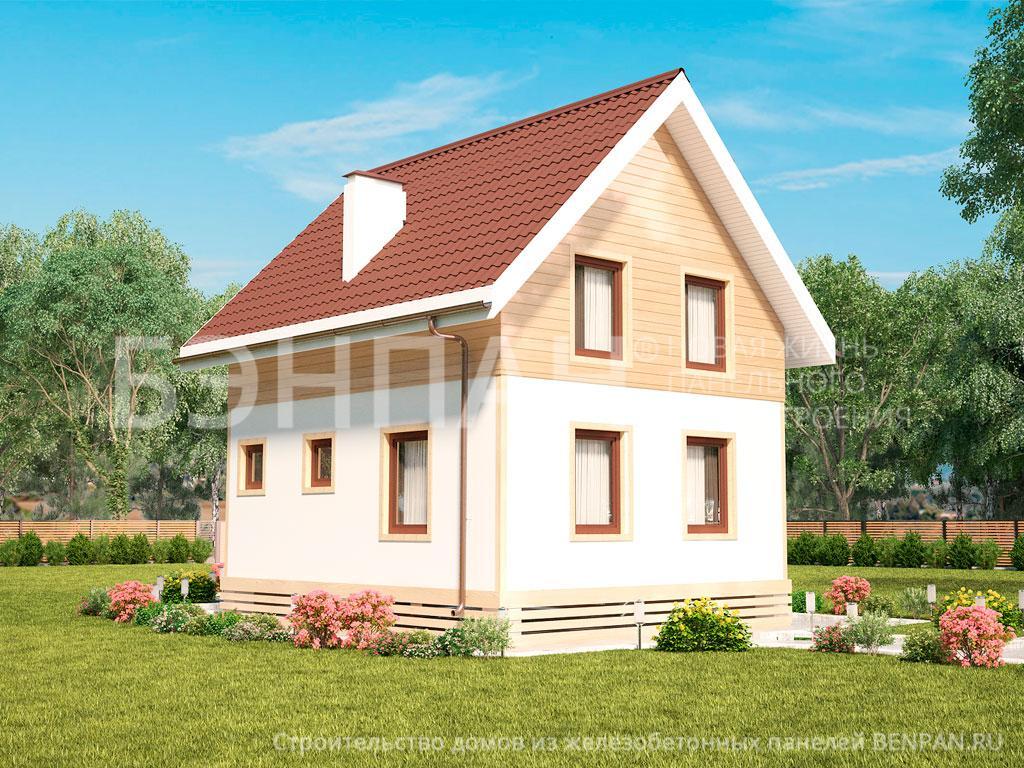 Фото дом с мансардой 89.20м2, этажа 2, комнаты 4, проект для загородного дома