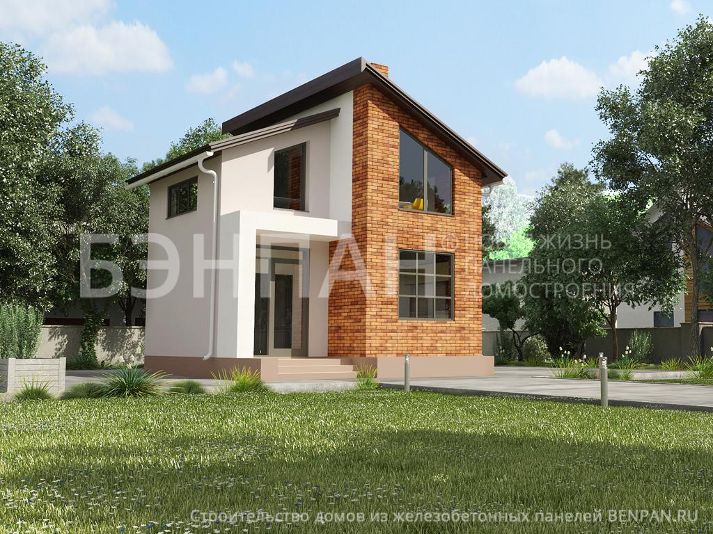 Фото дом с мансардой 60.79м2, этажа 2, комнаты 3, проект для загородного дома