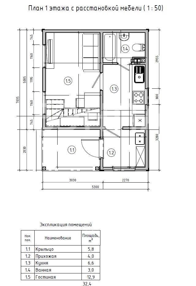 Планировка первого этажа проекта МС-51 июль 2019 года