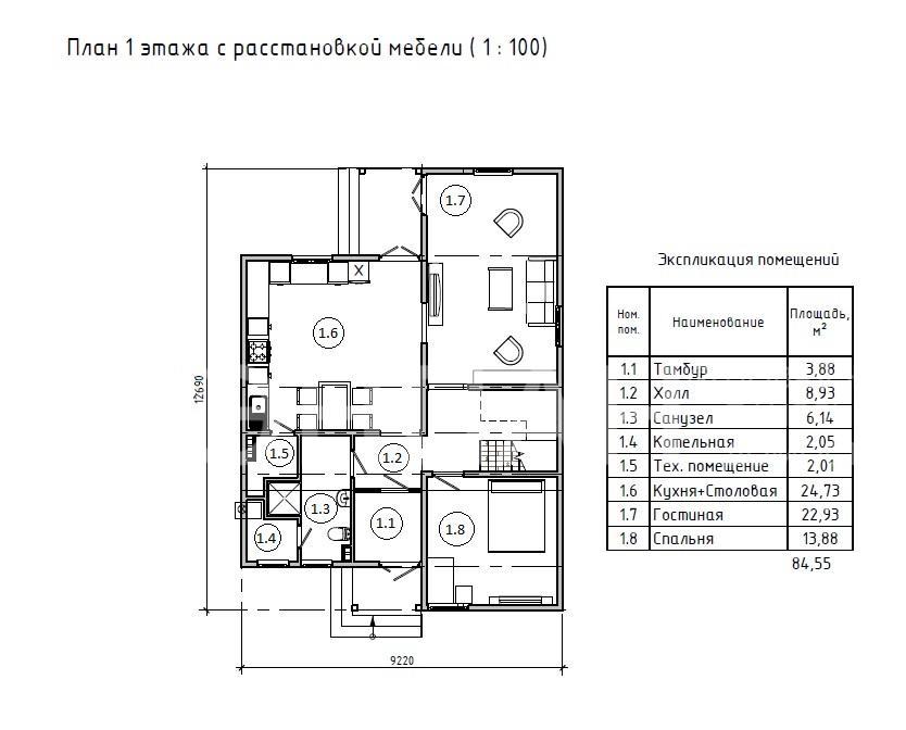 Планировка первого этажа проекта МС-180 июнь 2019 года
