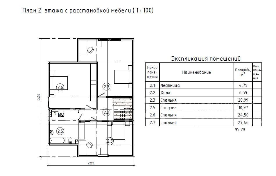 Планировка второго этажа проекта МС-180 июнь 2019 года
