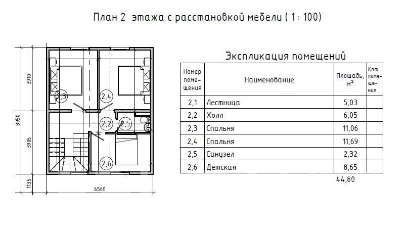 Планировка второго этажа проекта МС-92 февраль 2019 года