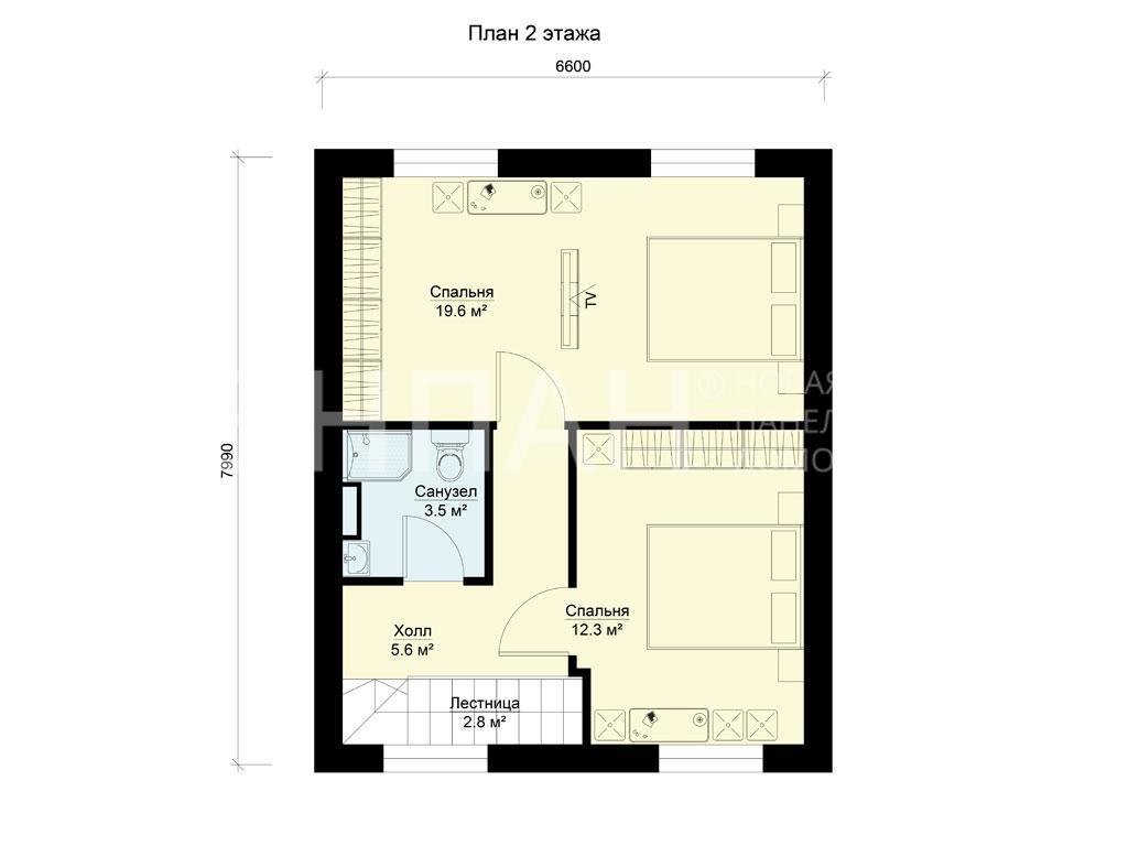 Планировка второго этажа проекта БП-95/1 июнь 2019 года