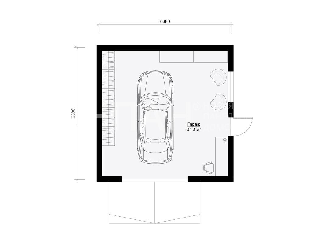 Планировка первого этажа проекта Гараж июнь 2019 года