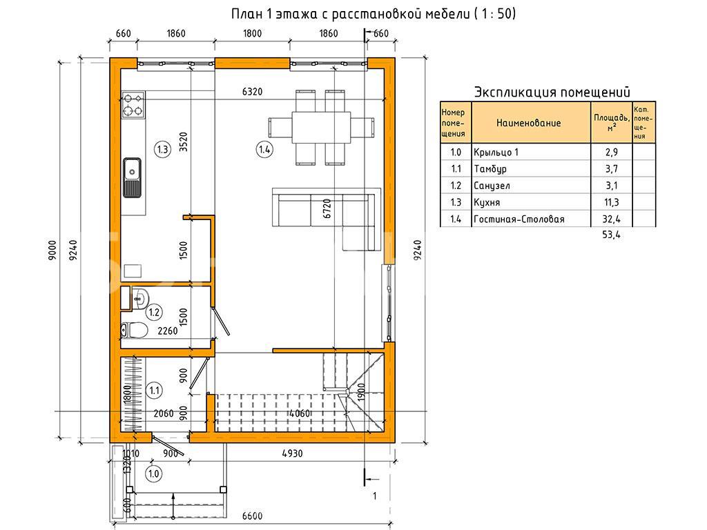 Планировка первого этажа проекта МС-106 июнь 2019 года