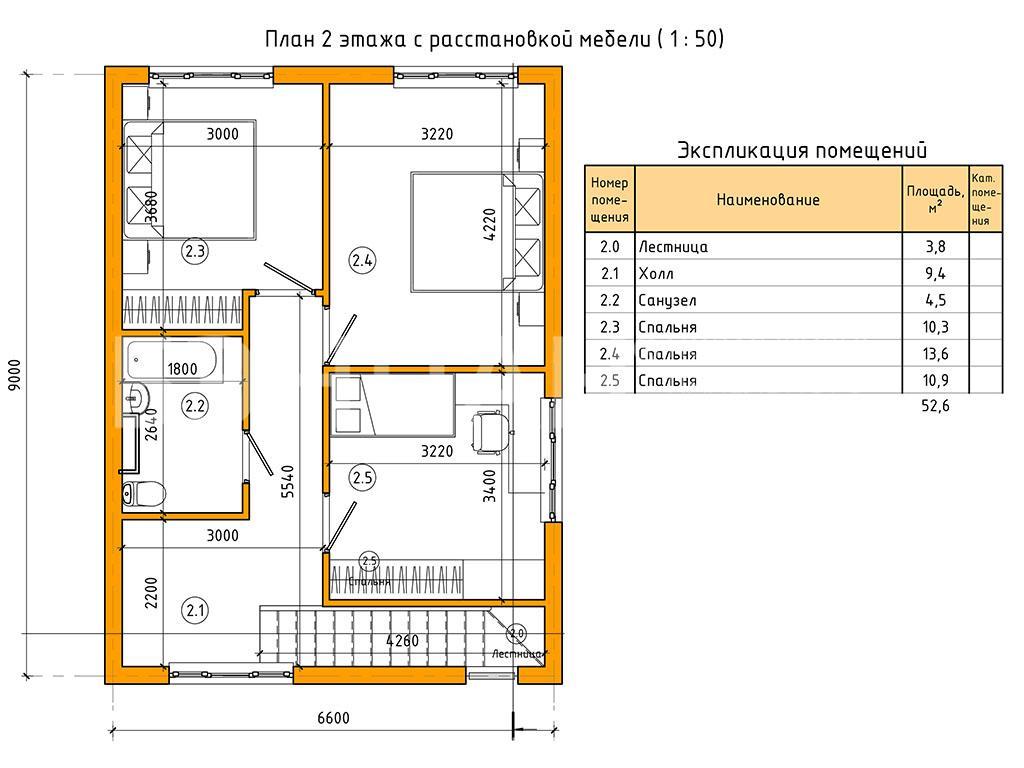 Планировка второго этажа проекта МС-106 июнь 2019 года