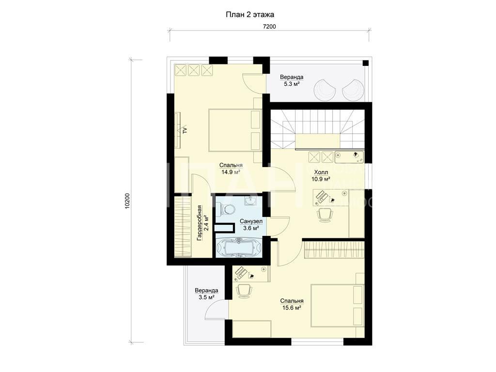 Планировка второго этажа проекта МС-112/1 январь 2019 года