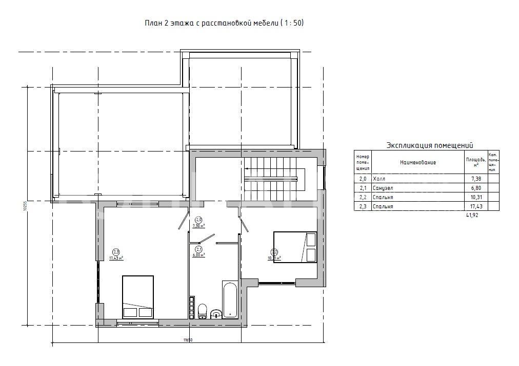 Планировка второго этажа проекта МС-137 К июнь 2019 года