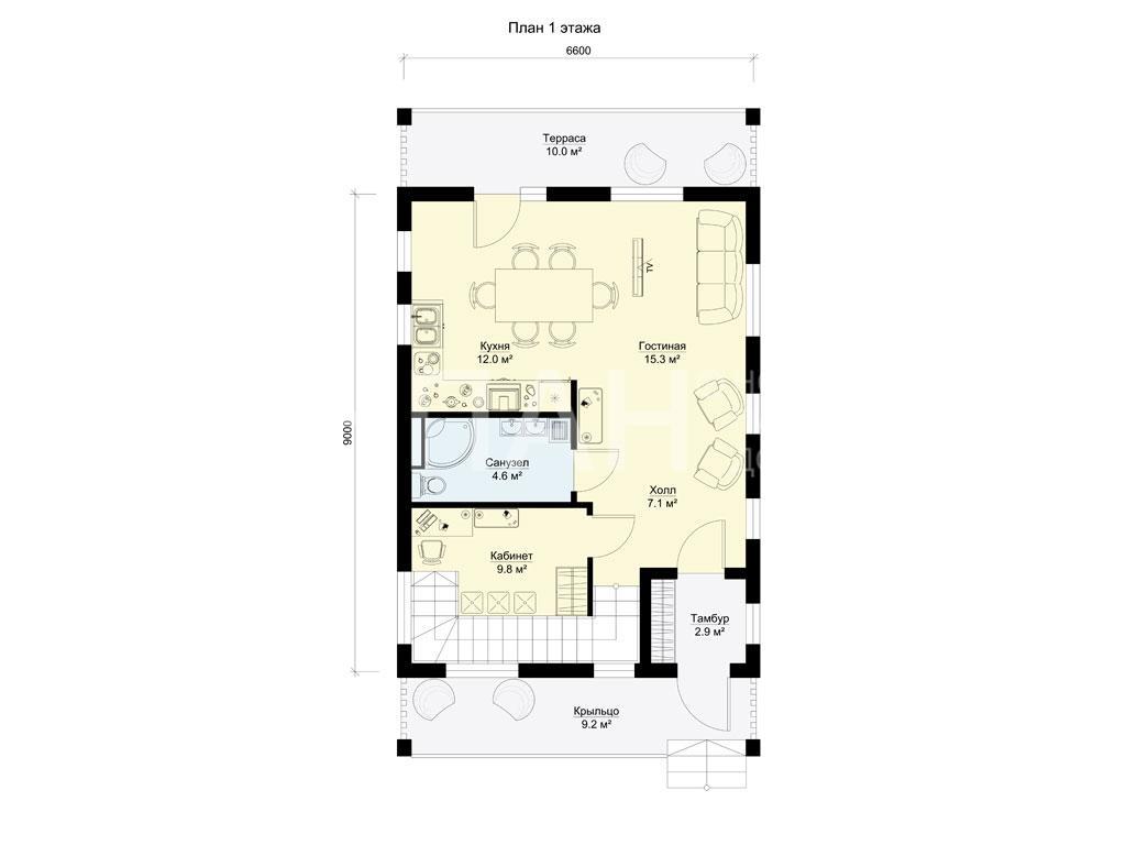 Планировка первого этажа проекта МС-144 февраль 2019 года