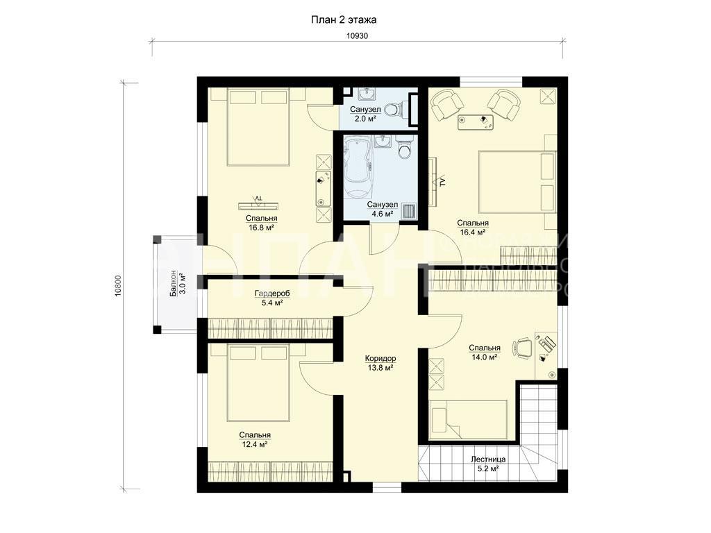 Планировка второго этажа проекта МС-187 январь 2019 года