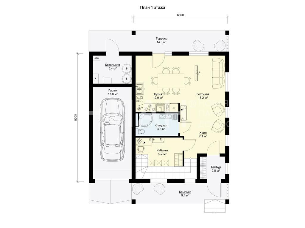 Планировка первого этажа проекта МС-195 март 2019 года