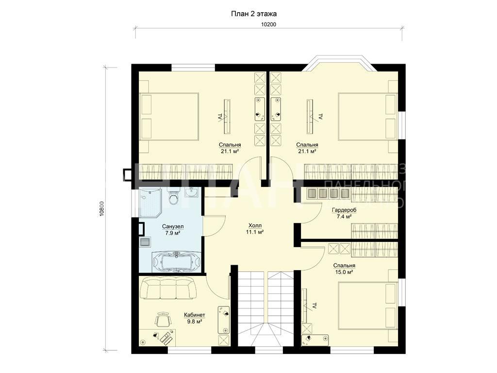 Планировка второго этажа проекта МС-240/4 июль 2019 года