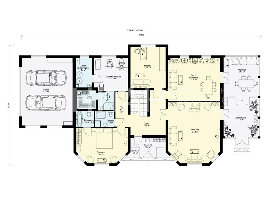 Планировка первого этажа проекта МС-474 март 2019 года
