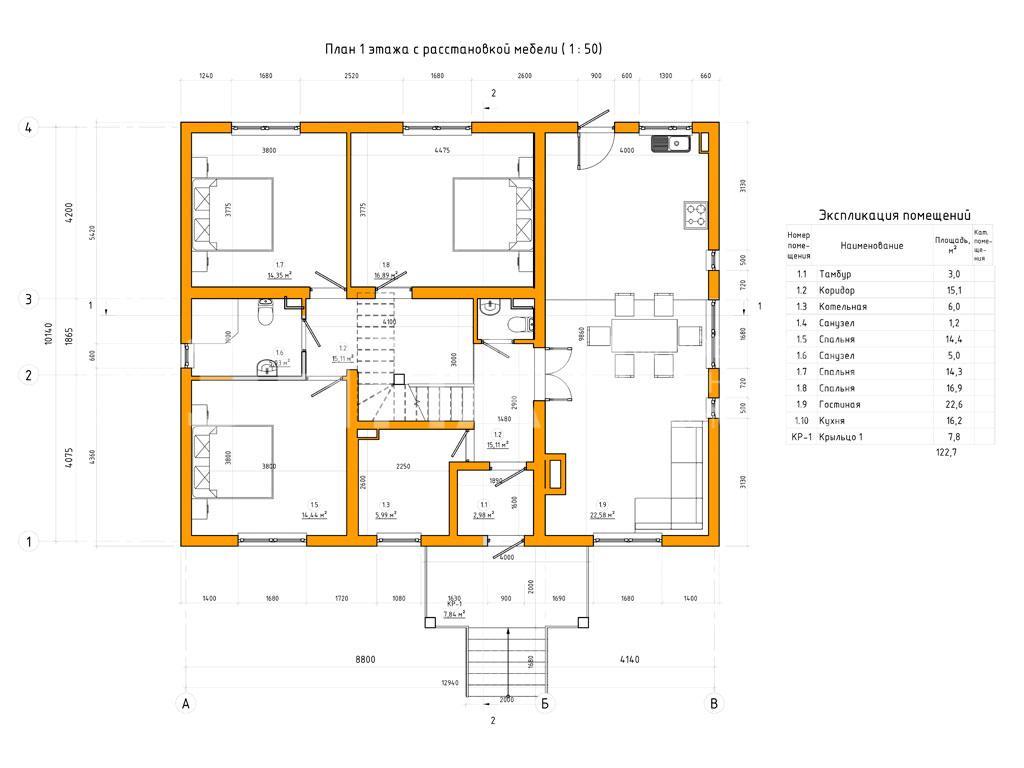 Планировка первого этажа проекта МС-120 январь 2019 года