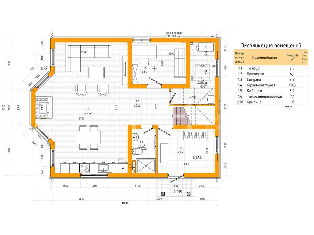 Планировка первого этажа проекта МС-143 февраль 2019 года