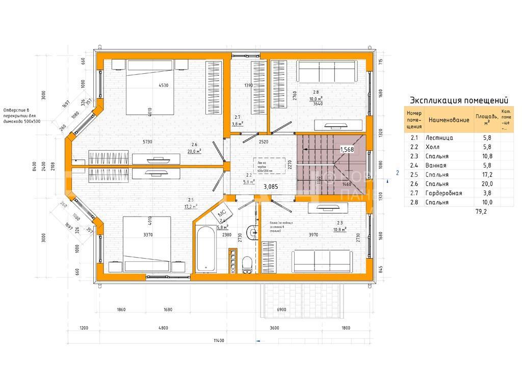 Планировка второго этажа проекта МС-143 февраль 2019 года