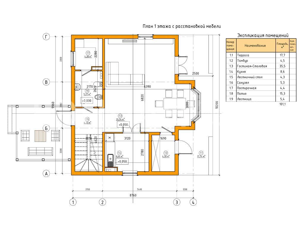 Планировка второго этажа проекта МС-164/К апрель 2019 года