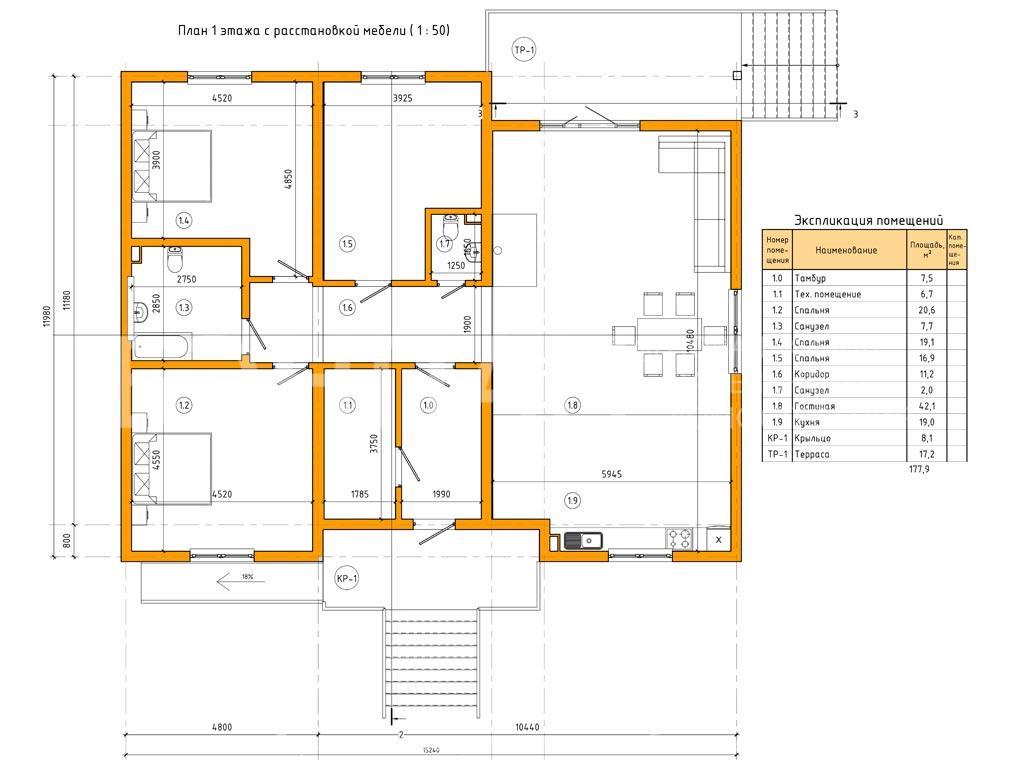 Планировка первого этажа проекта МС-178 август 2019 года