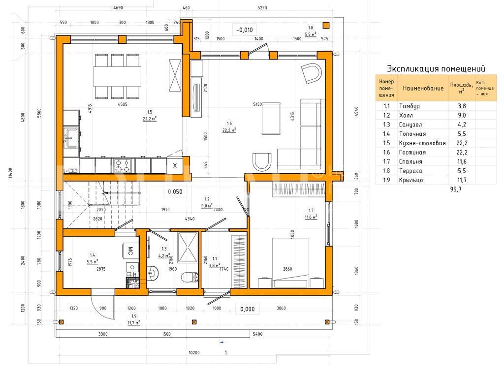 Планировка первого этажа проекта МС-184 февраль 2019 года