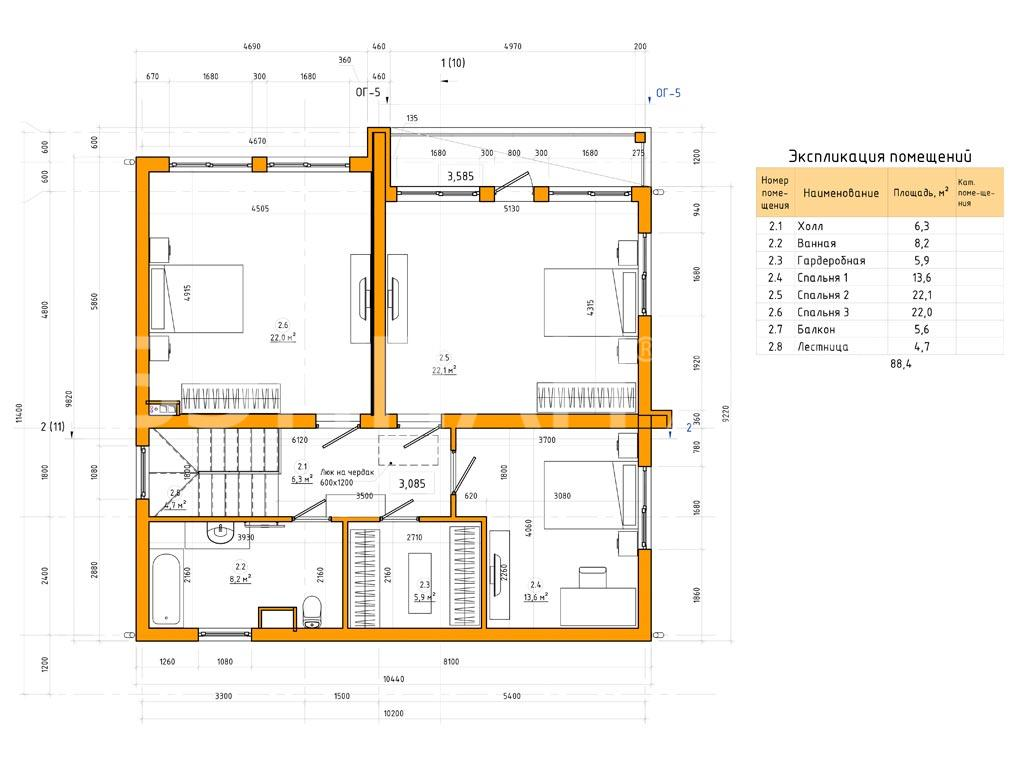 Планировка второго этажа проекта МС-184 февраль 2019 года
