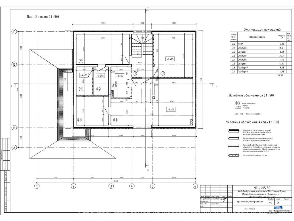 Планировка второго этажа проекта МС-215 январь 2019 года