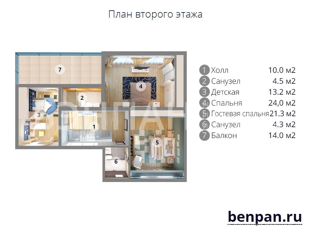 Планировка второго этажа проекта МС-233 июнь 2019 года