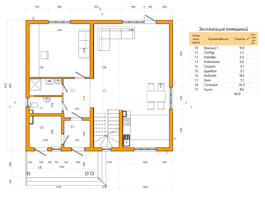 Планировка первого этажа проекта МС-240 (без гаража) февраль 2019 года