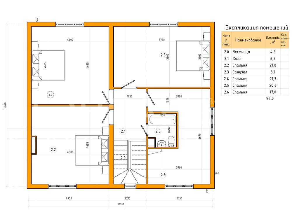 Планировка второго этажа проекта МС-240 (без гаража) февраль 2019 года