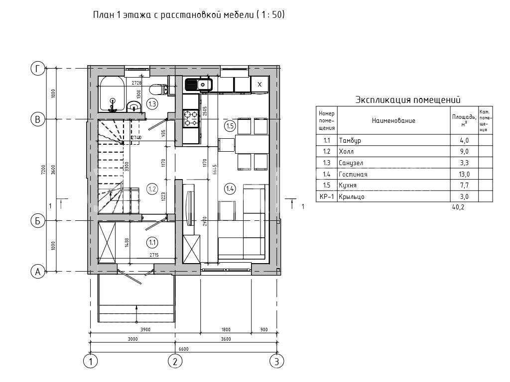 Планировка первого этажа проекта МС-95/1 август 2019 года