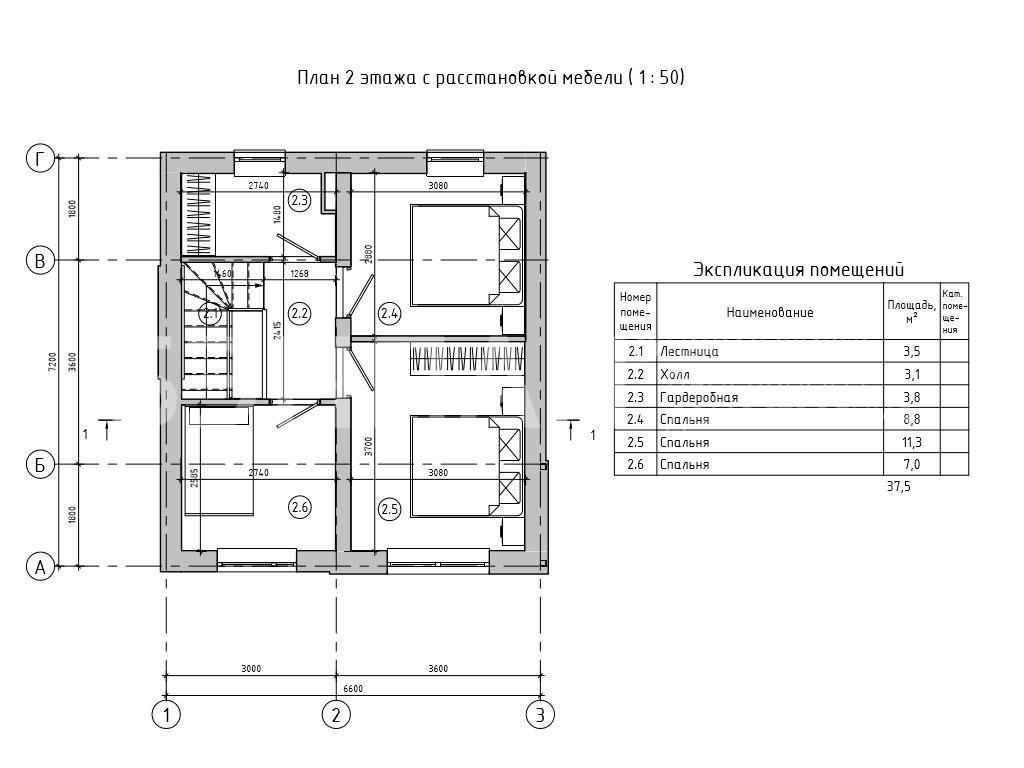Планировка второго этажа проекта МС-95/1 август 2019 года