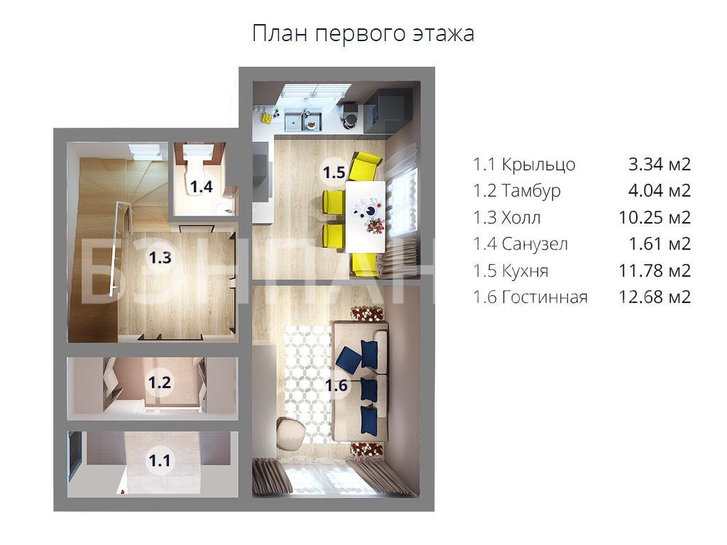Планировка первого этажа проекта МС-113 июнь 2019 года