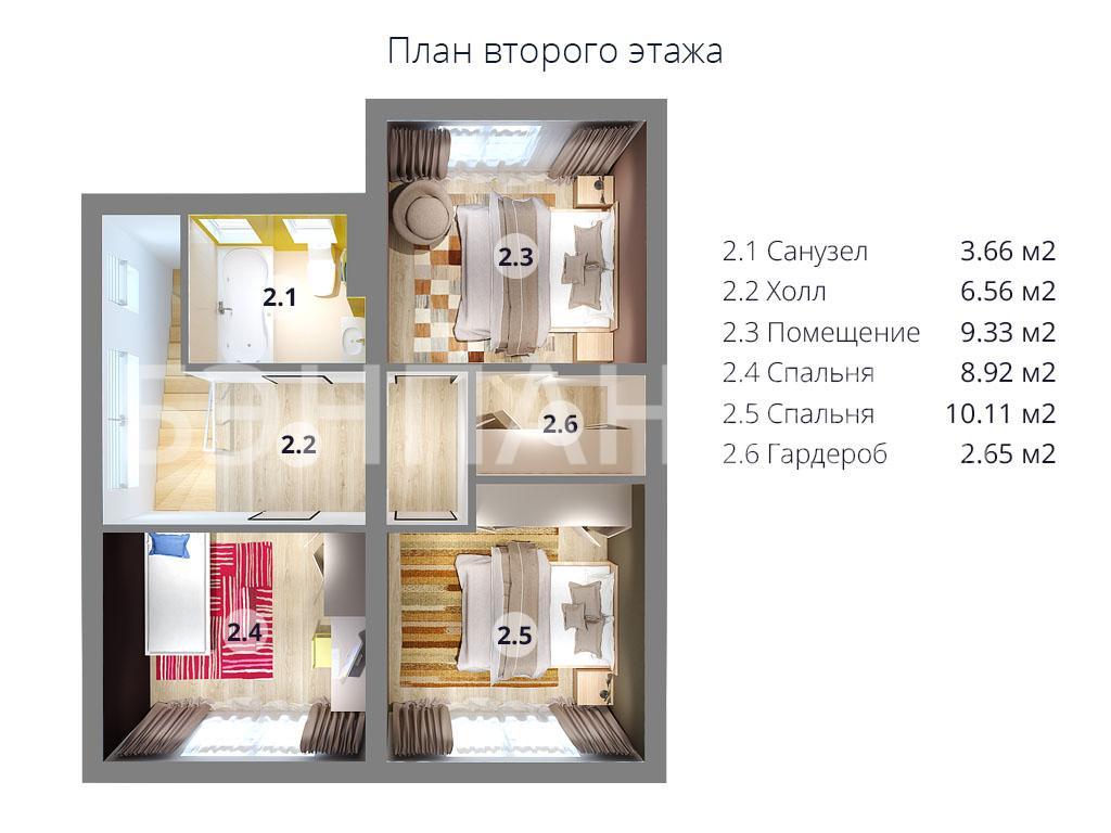 Планировка второго этажа проекта МС-113 июнь 2019 года