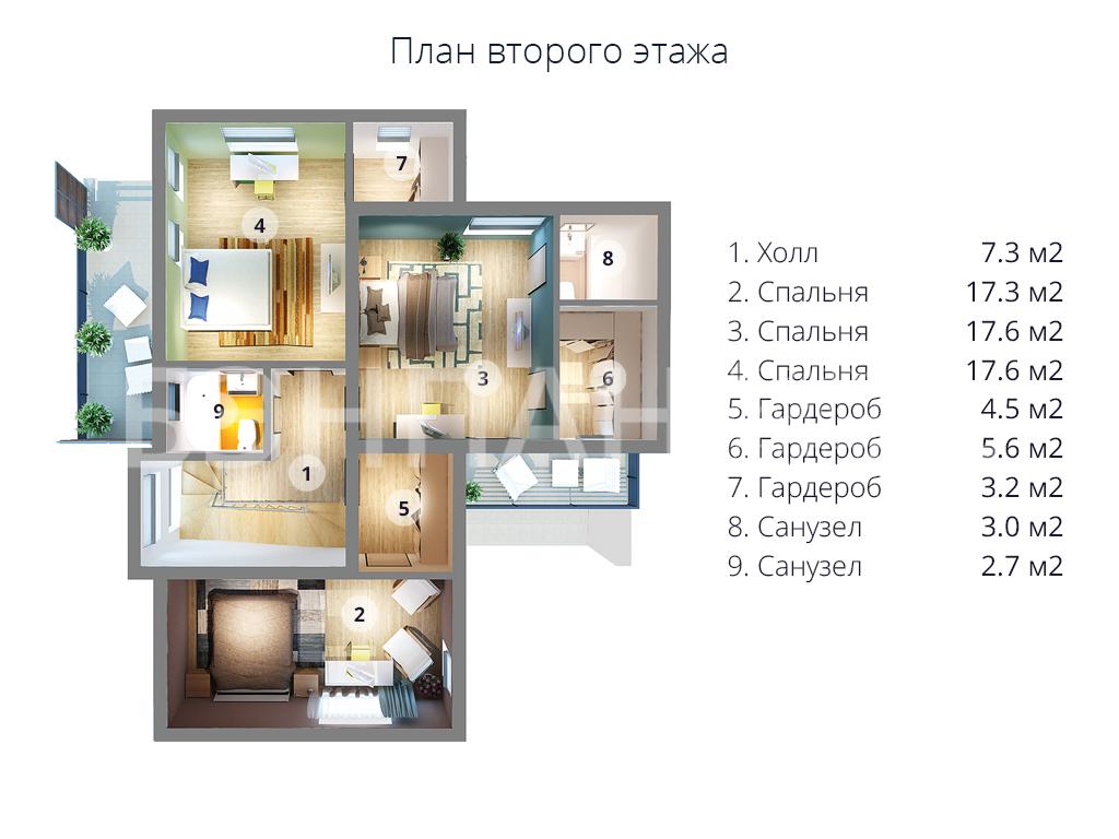 Планировка второго этажа проекта МС-238 август 2019 года