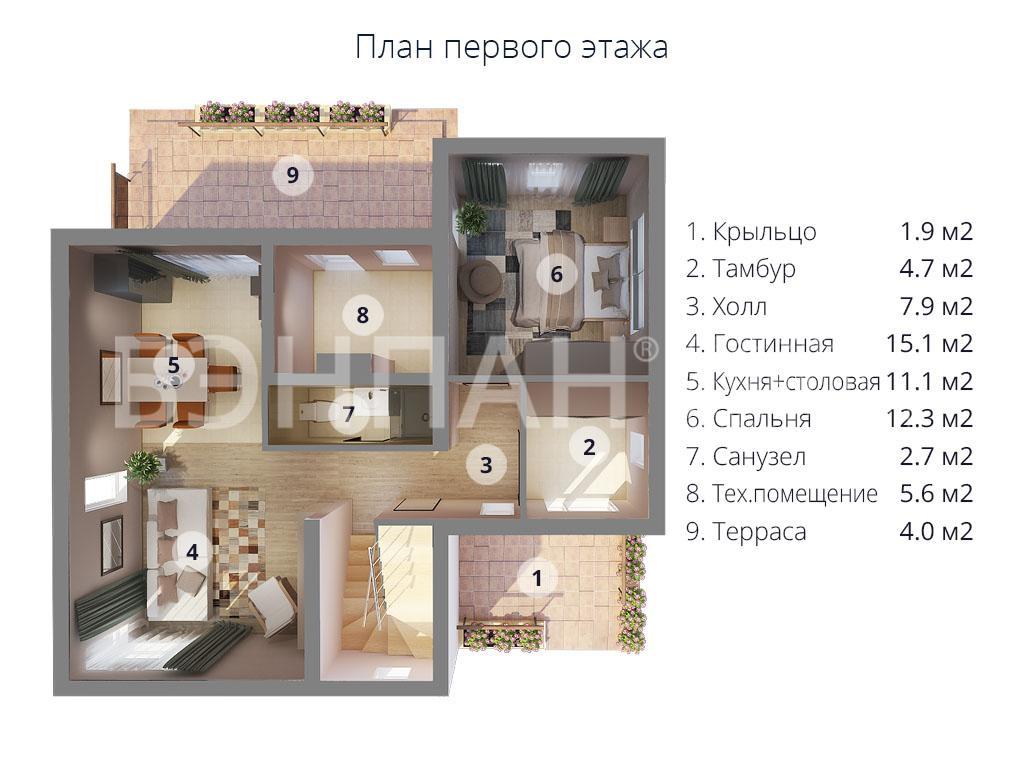 Планировка первого этажа проекта МС-186 март 2019 года