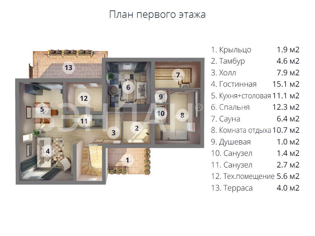 Планировка первого этажа проекта МС-224 январь 2019 года