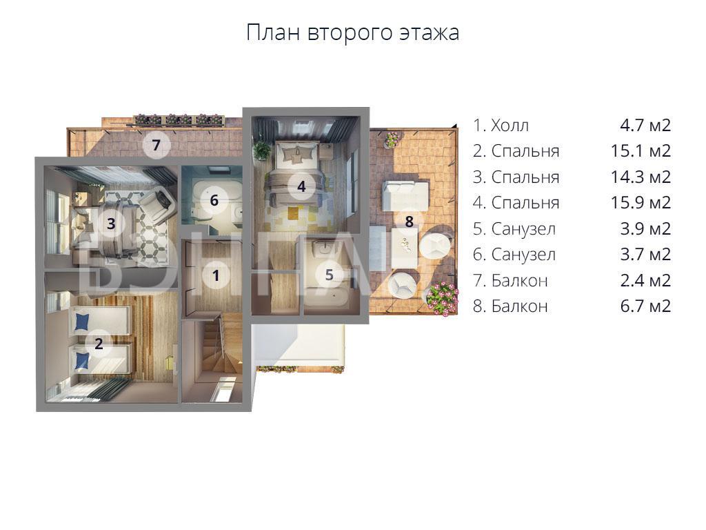 Планировка второго этажа проекта МС-224 январь 2019 года