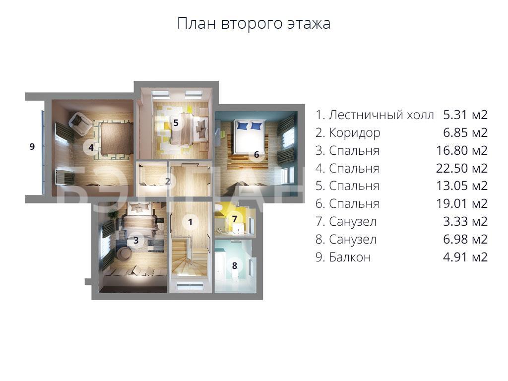 Планировка второго этажа проекта МС-253 апрель 2019 года