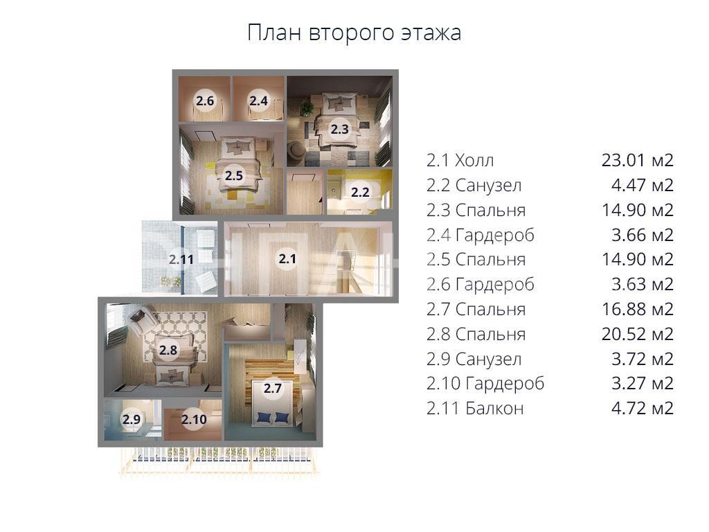 Планировка второго этажа проекта МС-296 февраль 2019 года