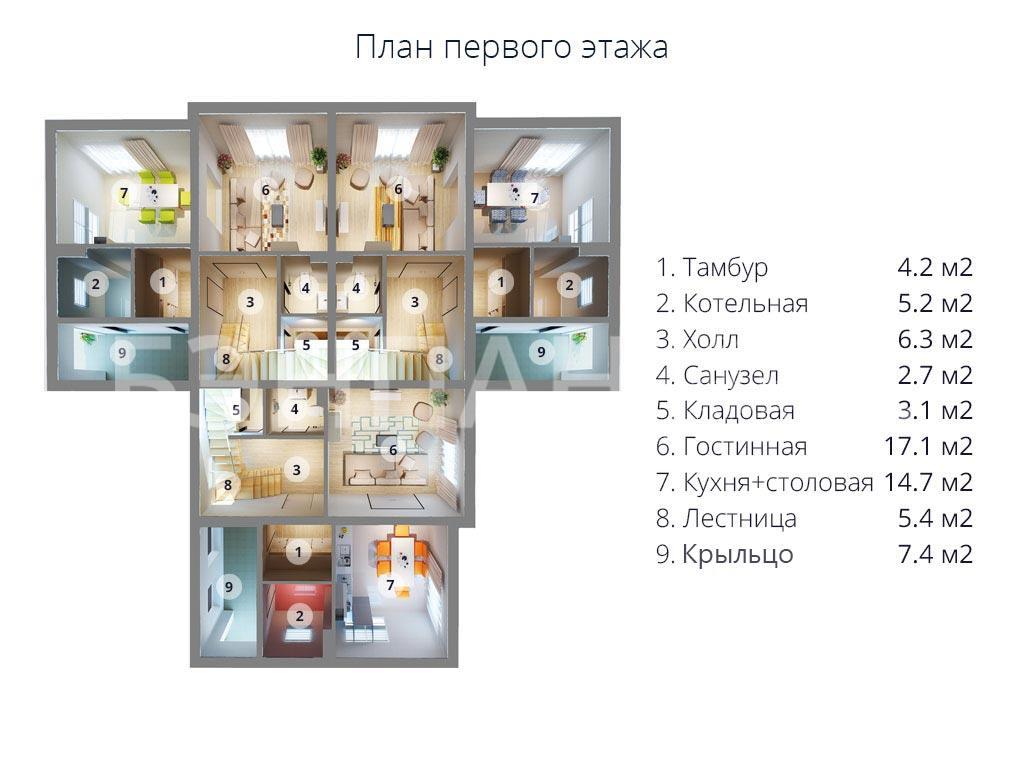 Планировка первого этажа проекта МС-472 (дом на 3 семьи) апрель 2019 года