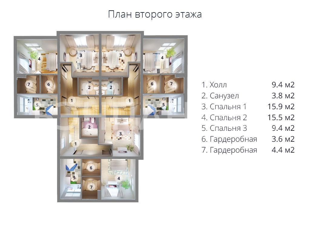 Планировка второго этажа проекта МС-472 (дом на 3 семьи) апрель 2019 года