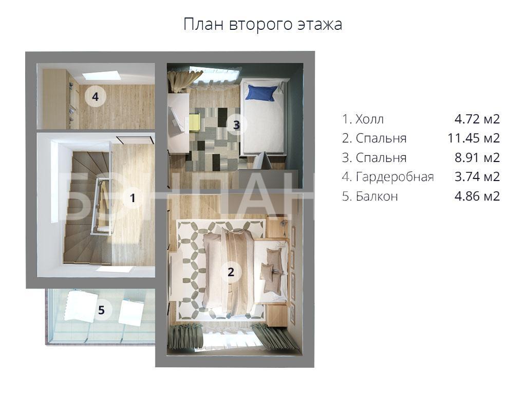 Компактный двухэтажный дом МС-95. Цветной объемный план второго этажа с расстановкой мебели